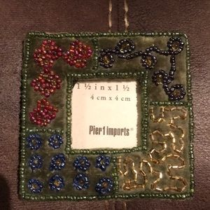 3x3 inch olive green beaded frame